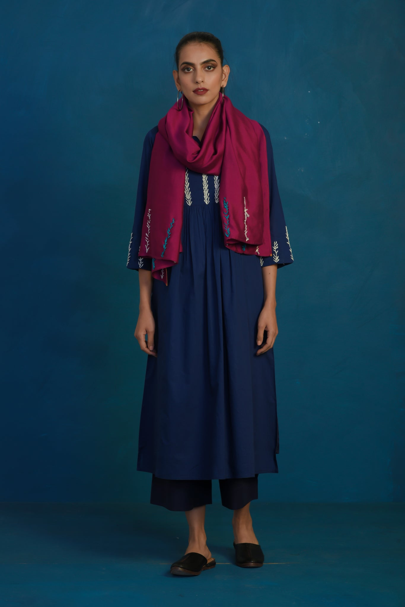 Navy gather kurta with palazzo