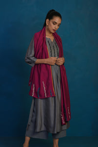 Grey gather kurta with palazzo