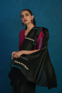 Black chanderi sari with wine blouse - set of 2