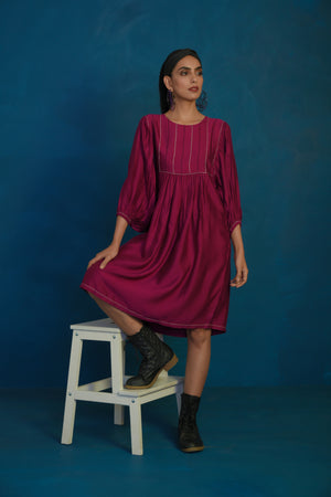 Wine short balloon sleeve dress