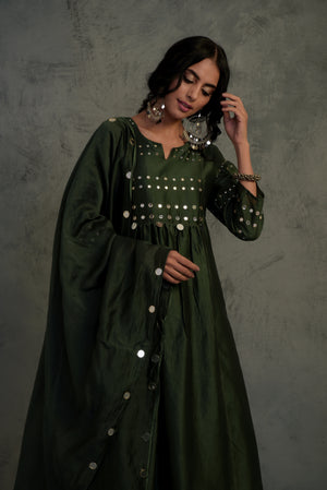 R2S Chanderi bottle green mirror embellished kurta with wide flare palazzo and chanderi dupatta