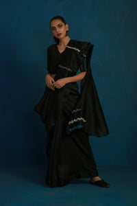 Black chanderi sari with black blouse - set of 2