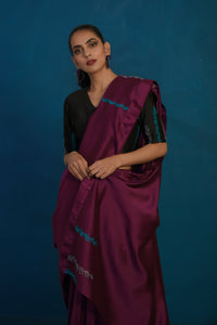 Wine chanderi sari with black blouse - set of 2