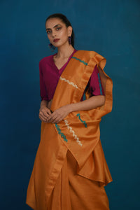 Mustard chanderi sari with wine blouse - set of 2