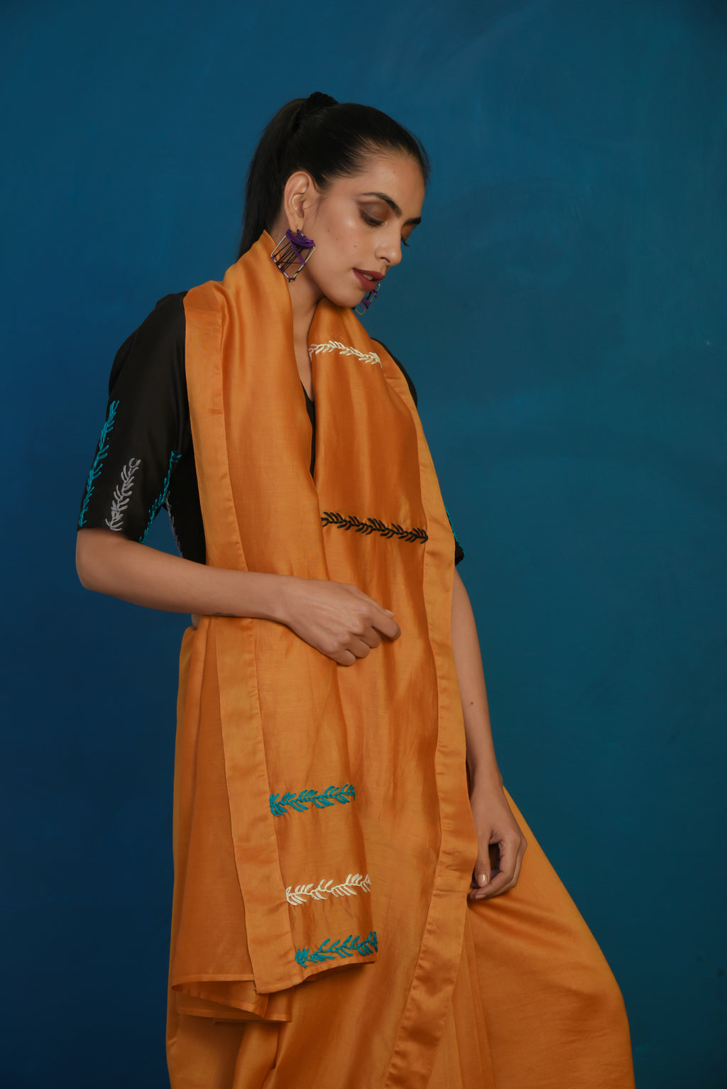 Mustard chanderi sari with black blouse- set of 2