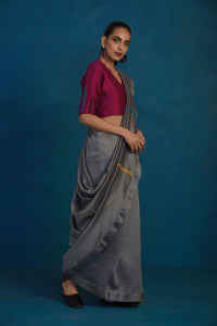 Grey chanderi sari with wine blouse- set of 2