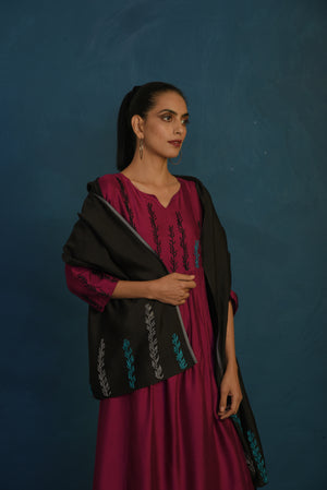 Black hand embroidered silk stole