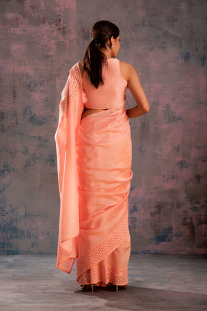 Swarovski Peach Chanderi Saree with Peach Sleeveless Blouse - Set of 2