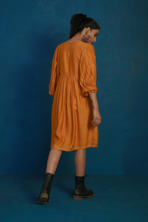 Mustard short balloon sleeve dress