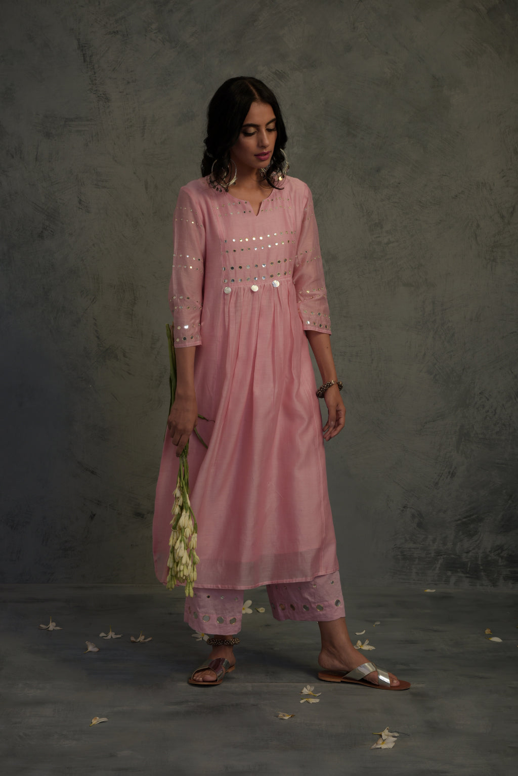 Chanderi pink mirror embellished kurta with cotton palazzo and chanderi dupatta