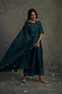 Chanderi teal blue mirror embellished tasseled kurta with cotton palazzo and chanderi dupatta