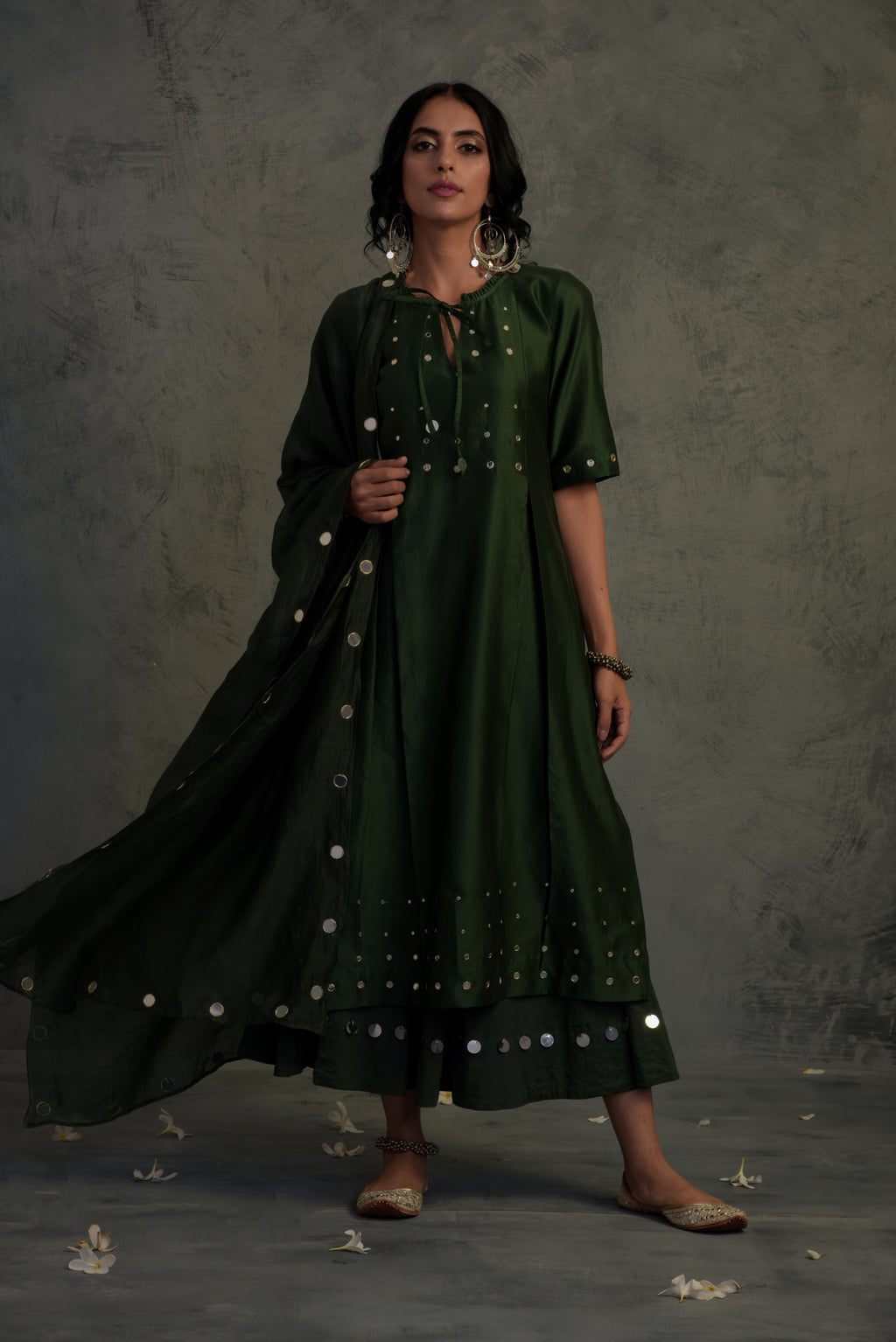 Chanderi bottle green mirror embellished tasseled kurta with cotton palazzo and chanderi dupatta