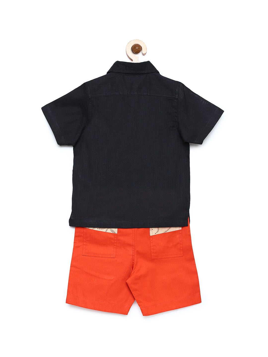 Black & Orange Solid Shirt with shorts
