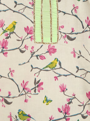 Cream Bird Block Print Sharara