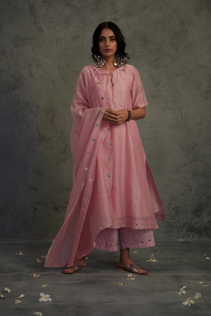 Chanderi pink mirror embellished tasseled kurta with cotton palazzo and chanderi dupatta