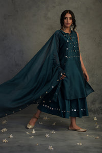 Chanderi teal blue mirror embellished tasseled sleeveless kurta with wide flared palazzo and chanderi dupatta