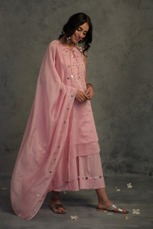 Chanderi pink mirror embellished tasseled sleeveless kurta with wide flared palazzo and chanderi dupatta