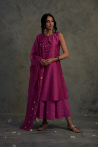 Chanderi bright pink mirror embellished tasseled sleeveless kurta with wide flared palazzo and chanderi dupatta