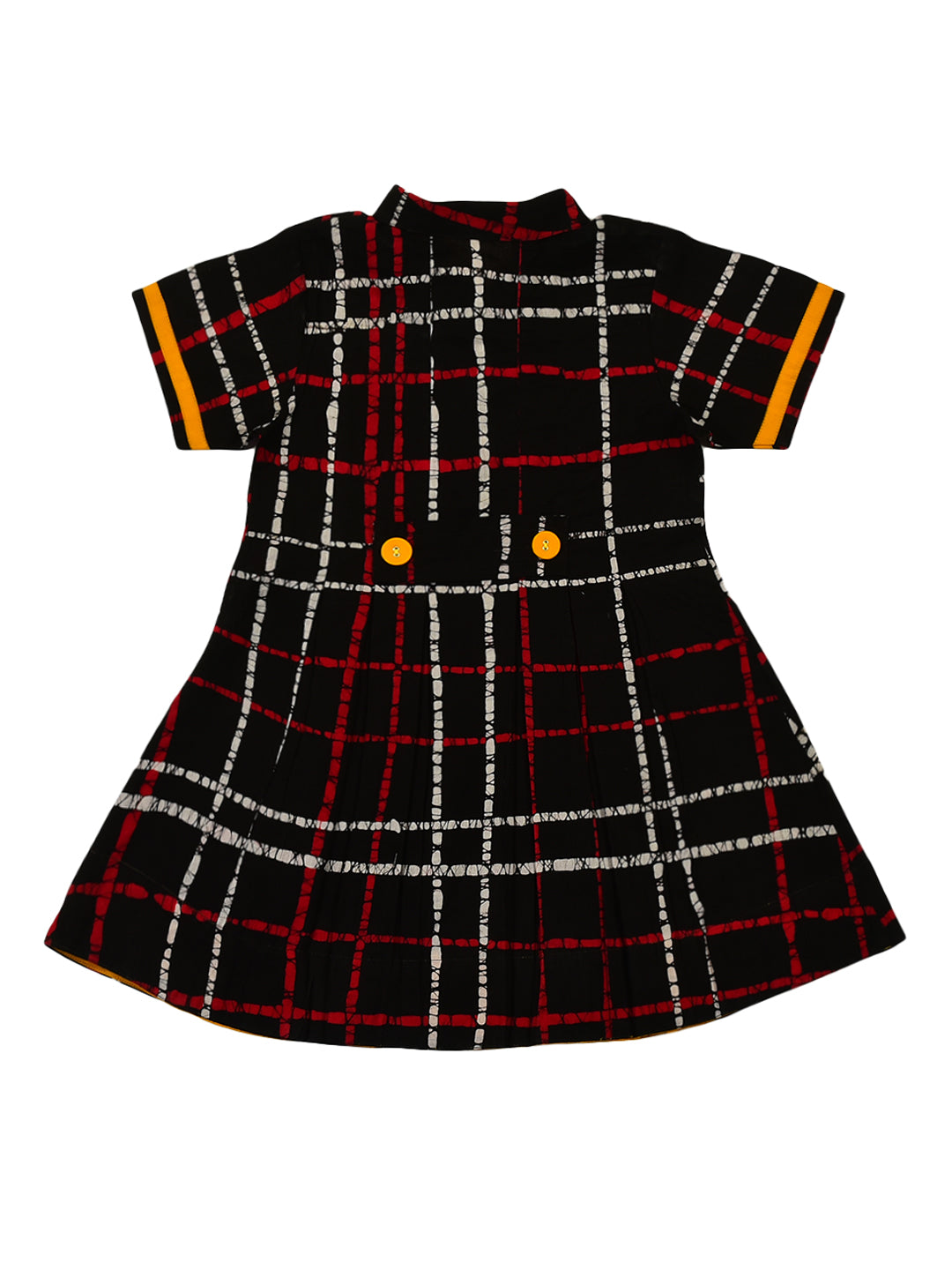 Black check pleated shirt dress