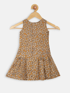 Mustard box pleat dress