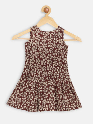 Maroon box pleat dress