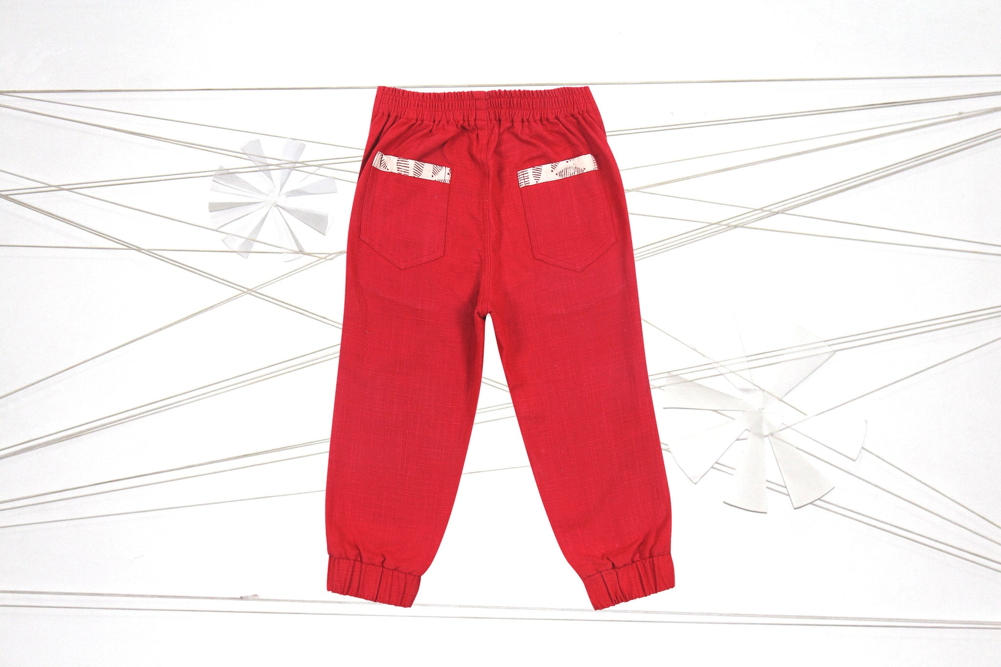 Red linen joggers