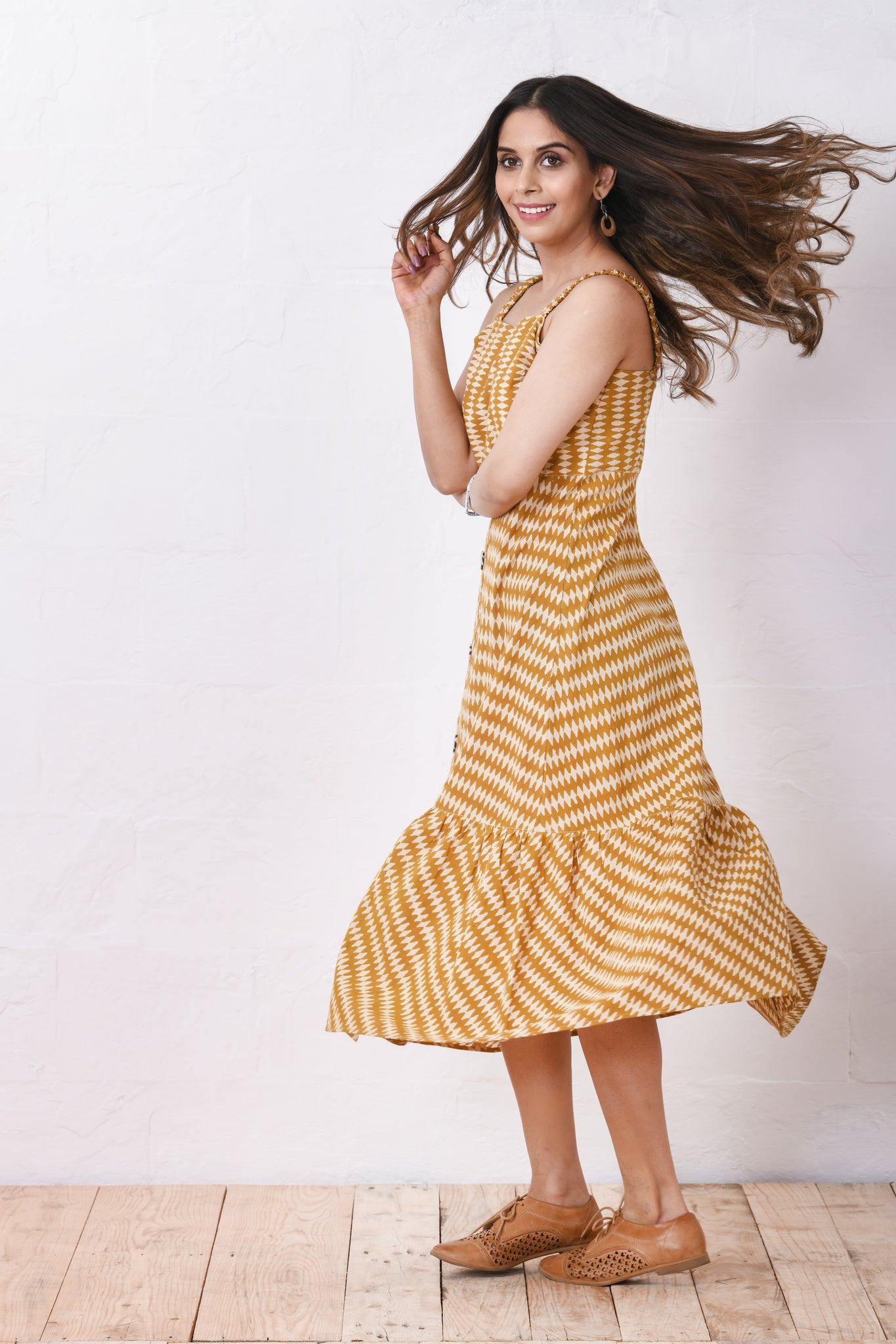 Mustard bottom tier dress