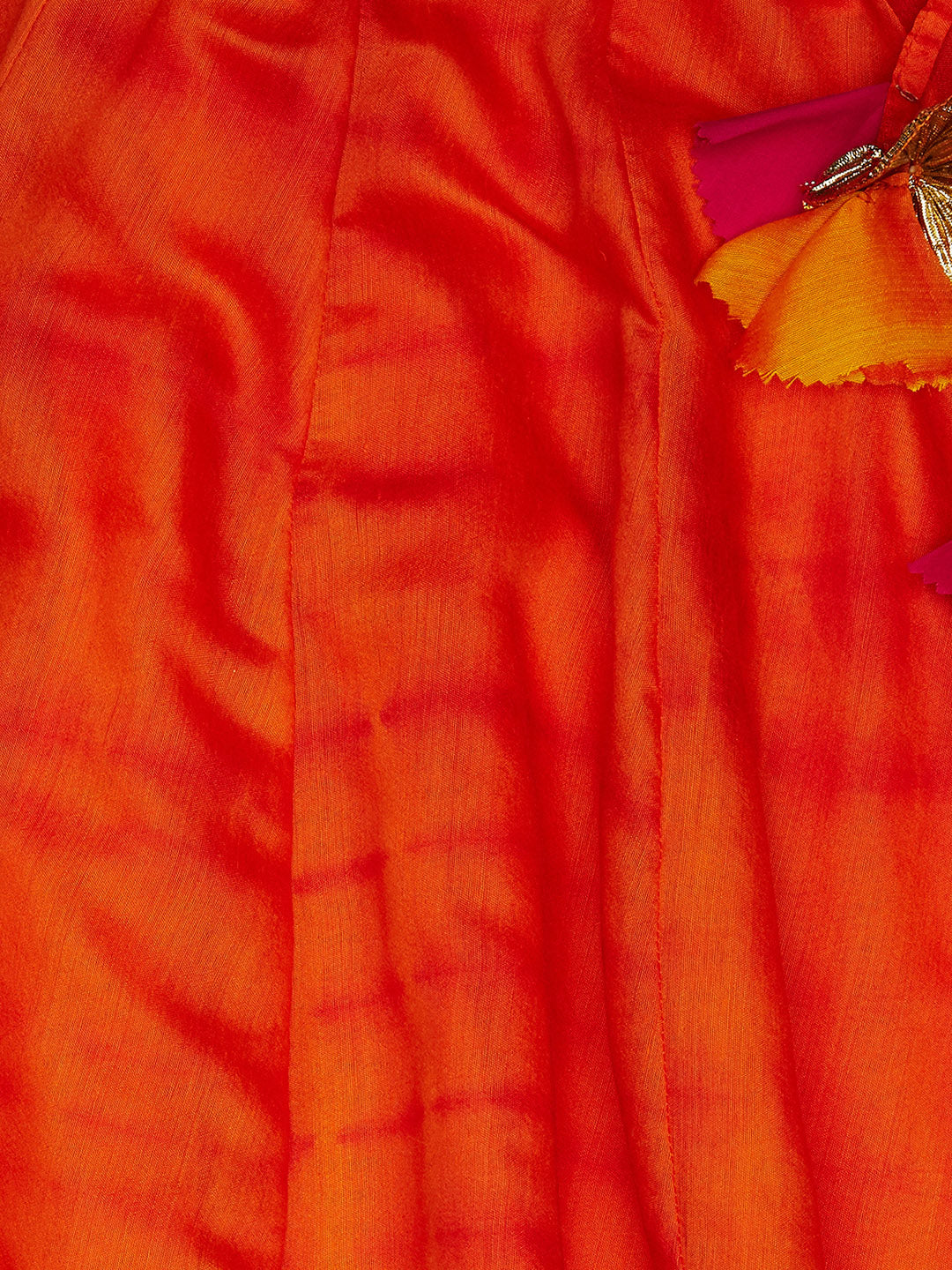 orange cold shoulder tie-dye lehenga set