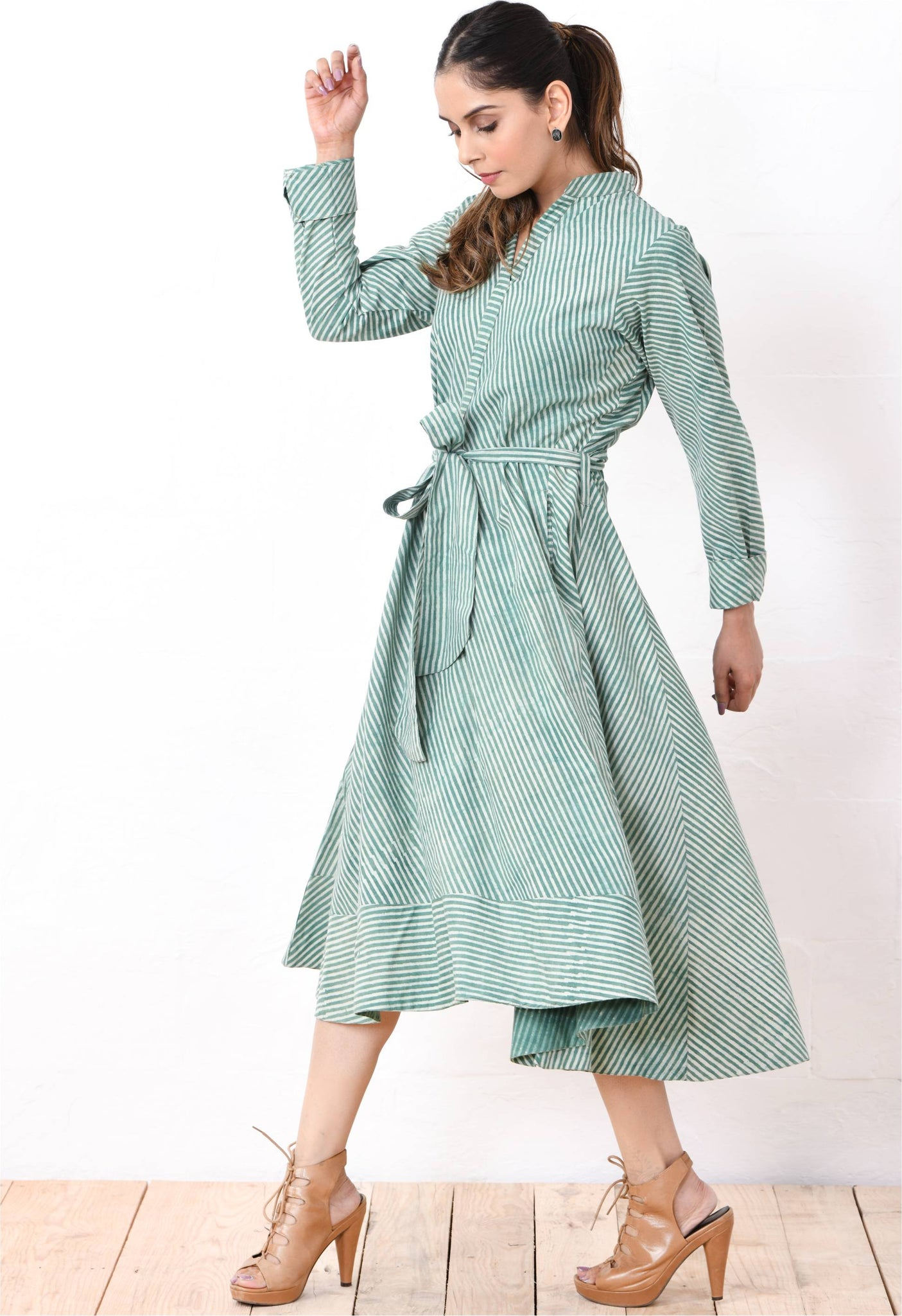 Hi-lo green stripe dress