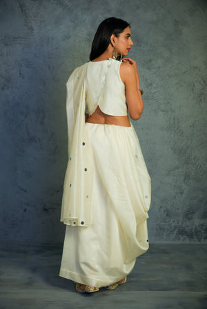 Chanderi off-white Saree with blouse - set of 2