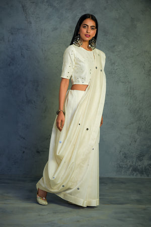 Chanderi off-white Saree with off-white blouse - set of 2