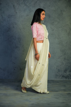 Chanderi off-white Saree with light pink blouse - set of 2