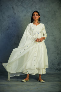 Chanderi off-white mirror embellished kurta with wide flare palazzos and chanderi dupatta