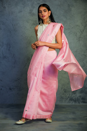 Chanderi light pink Saree with blouse - set of 2