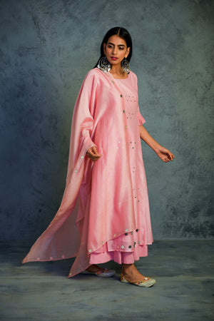 Chanderi light pink pleated sleeves kurta with wide flared palazzos and chanderi dupatta
