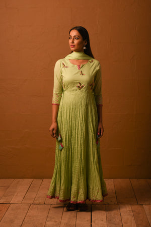 R2S Mint green embroidered anarkali dress