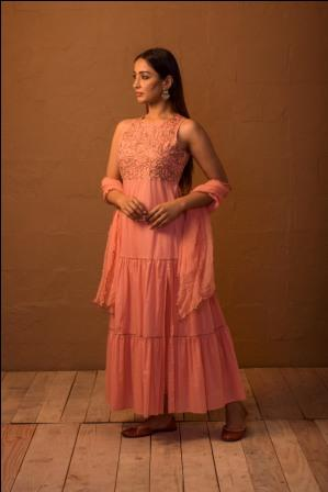 Peach sequined tier dress with pants