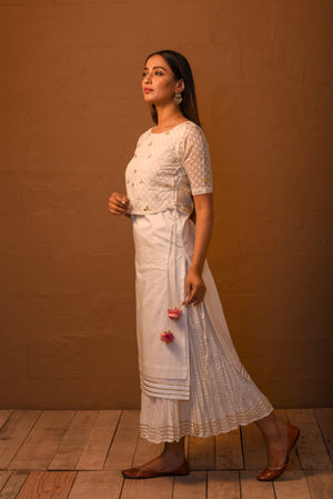 White layered kurta with crinkled palazzo