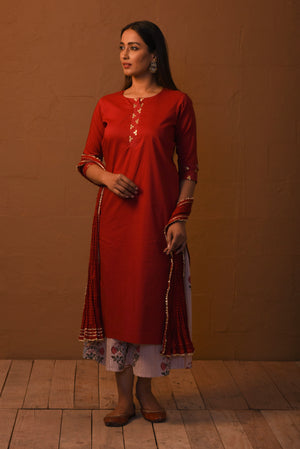 R2S Red embroidered Kurta with Palazzo