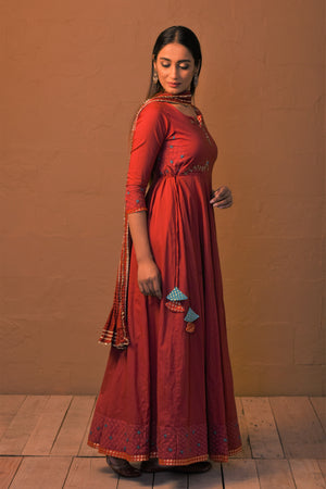Red embroidered Anarkali dress