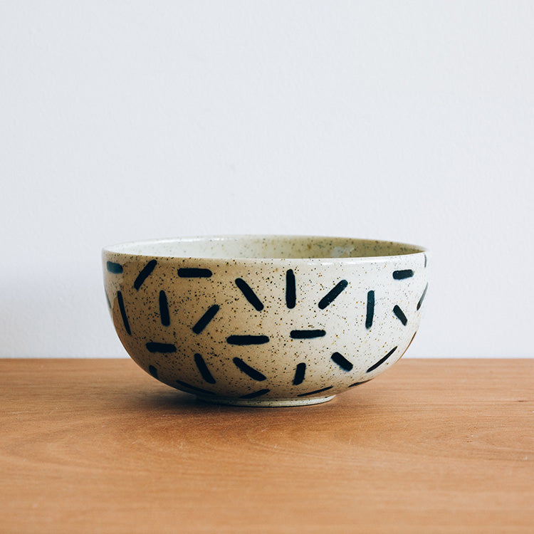 Stoneware Black Patterned Bowls