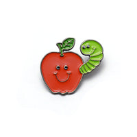 Apple And Worm Buddies Enamel Pin
