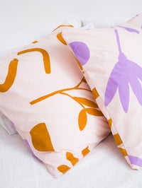 Floral Dreams Euro Pillowcases – Lilac and Mustard
