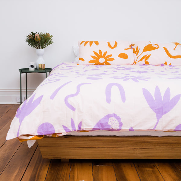FLORAL DREAMS Duvet Set – Lilac and Mustard