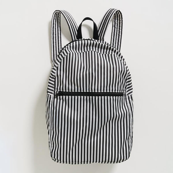 Packable Backpack – Black and White Stripe