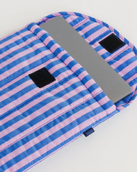 "Puffy Laptop Sleeve 13"" – Pink and Blue Stripe"