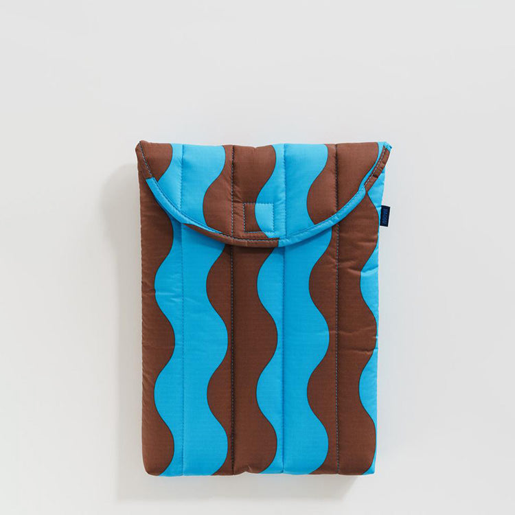 "Puffy Laptop Sleeve 13"" – Teal and Brown Wavy Stripe"