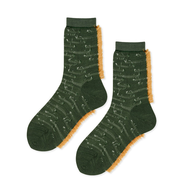 Pintuck Fringe Crew Green socks