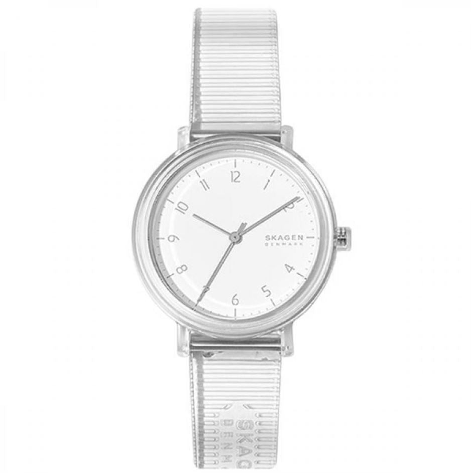 Skagen Ladies's Quartz Transparent Polyurethane Strap Watch SKW2858 | Watchspree