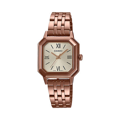 Casio Ladies' Analog Rose Gold Ion Plated Stainless Steel Band Watch LTPE169R-9B LTP-E169R-9B